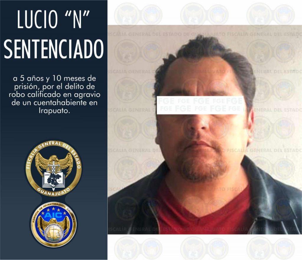 """La FGE obtiene condena de prisión para Lucio """"N"""", culpable de robo con violencia a un cuentahabiente en Irapuato. 7"""