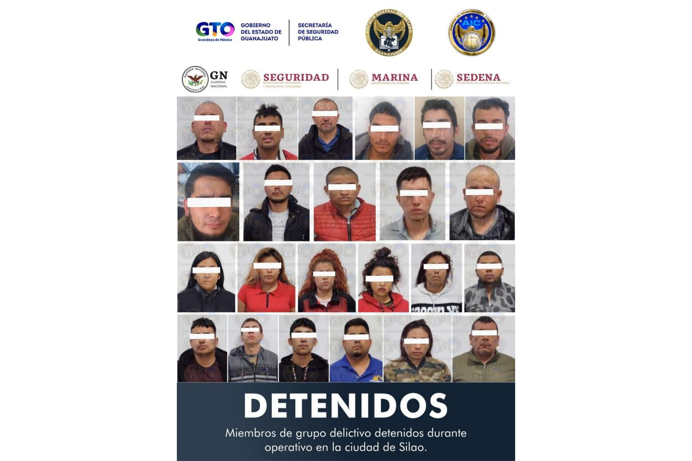 DETIENEN A 24 MIEMBROS DE GRUPO CRIMINAL, DECOMISAN ARSENAL Y LIBERAN A PLAGIADO 1