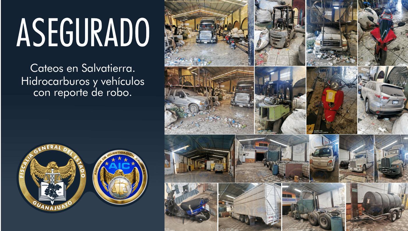 FGE realiza cateos en dos bodegas céntricas en Salvatierra y recupera 14 vehículos robados y contenedores con combustible. 2