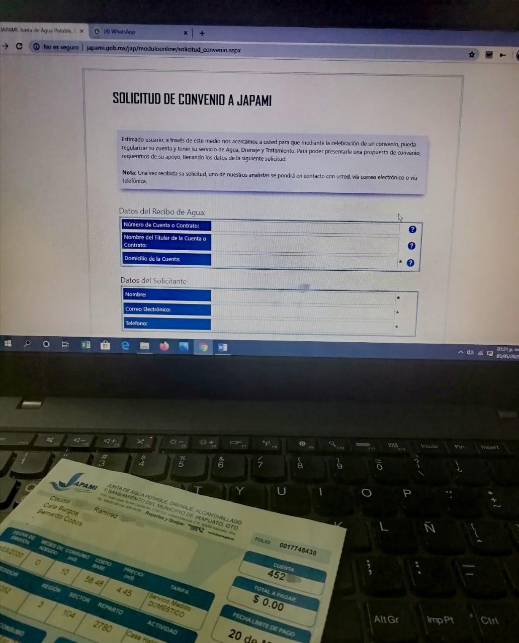 GARANTIZA JAPAMI SERVICIOS CON CONVENIO DE PAGO EN LÍNEA 1
