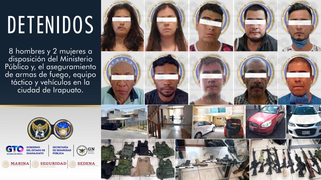 """En """"casa se seguridad"""" en Villas de Irapuato, detiene Grupo Táctico de la FGE a 8 masculinos y 2 mujeres en portación de armas largas y cortas. 4"""