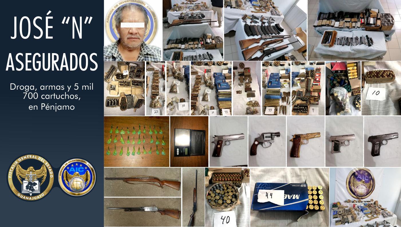 Asegura FGE miles de cartuchos, droga y armas en un domicilio de la zona centro de Pénjamo 1