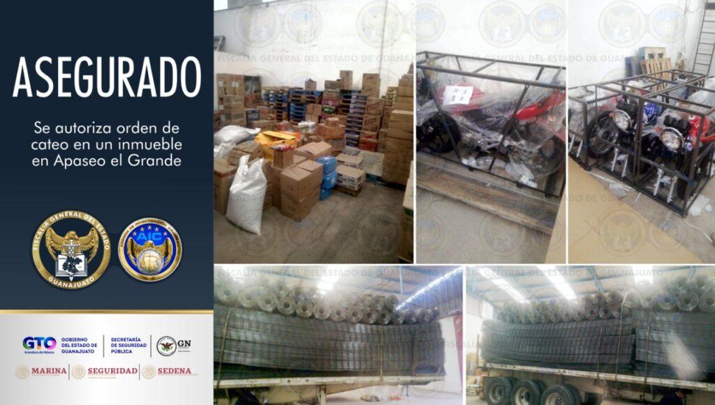 En cateo, aseguran toneladas de acero y motocicletas en una bodega en Apaseo el Grande. 7
