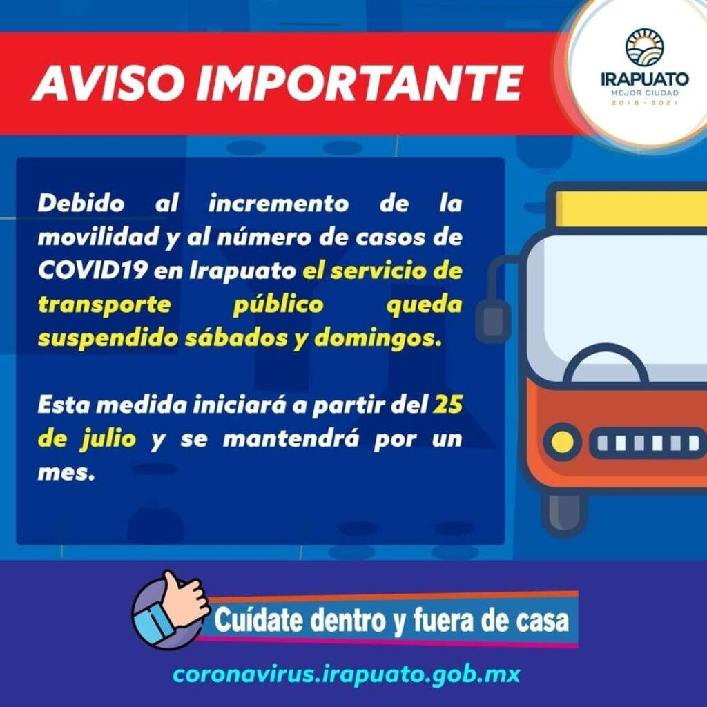 Por Covid-19, a partir de 25 de julio, sábados y domingos, se suspende transporte público urbano y suburbano. 7