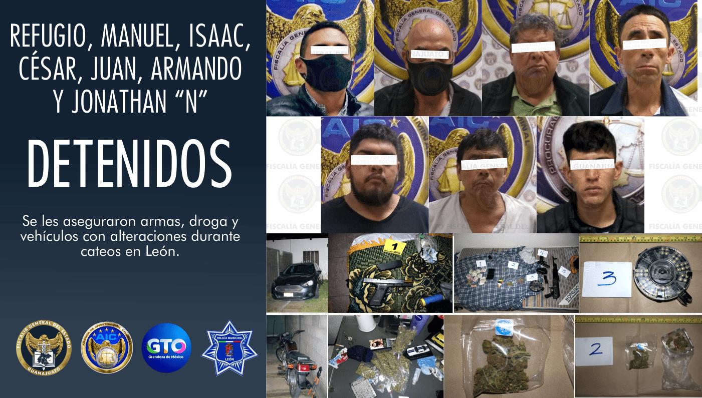 Capturan a 8 personas en León, aseguran armas, droga y vehículos al cumplimentar órdenes de cateo. 3