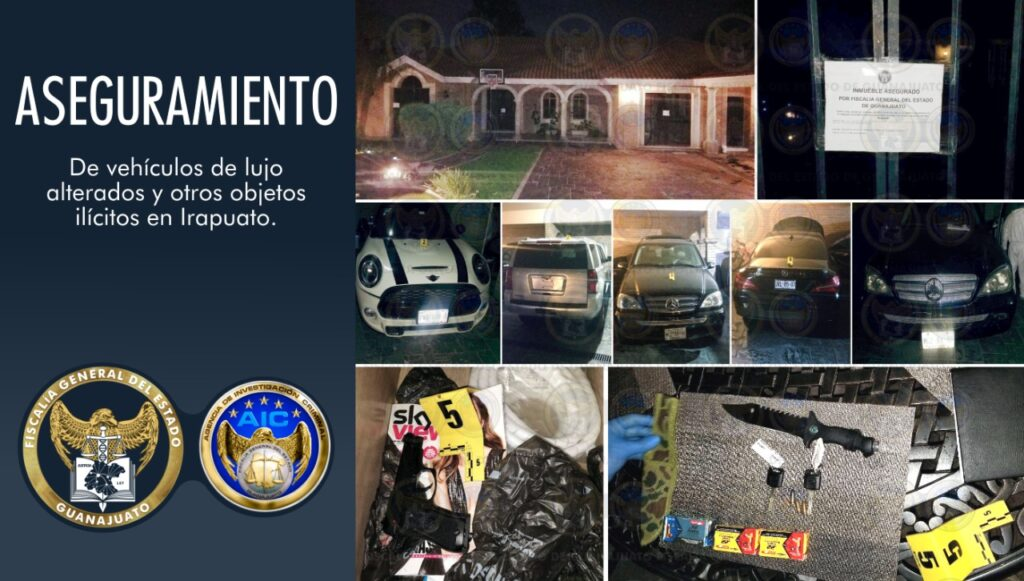 Catean residencia en Villas de Irapuato, aseguran vehículos de lujo alterados y otros objetos ilícitos 7