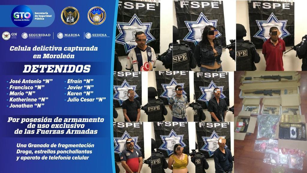 Detienen en Moroleón a nueve integrantes de célula delictiva en posesión de armas, droga y estrellas ponchallantas. 4