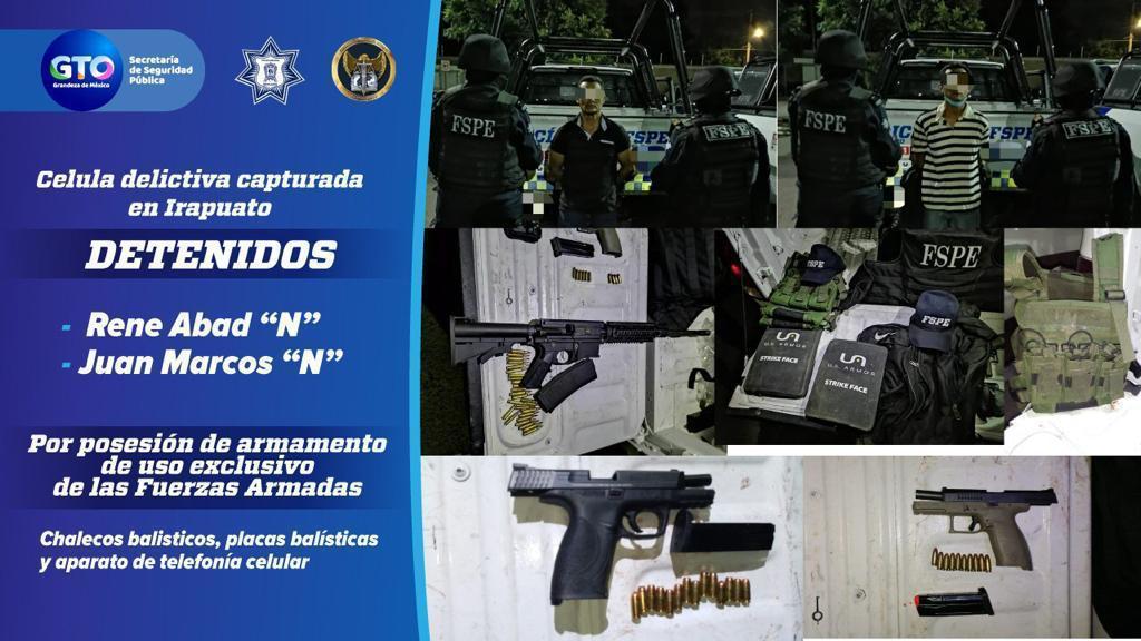 Captura en Irapuato la SSPEG en colaboración con la FGE, a dos integrantes de una célula delictiva. 1