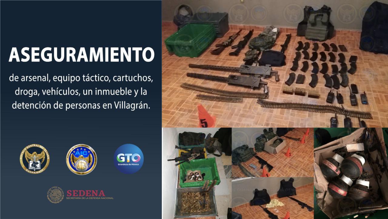 Aseguran en Santa Rosa de Lima, arsenal, equipo táctico, cartuchos, droga, vehículos, un inmueble y la detención de personas 3