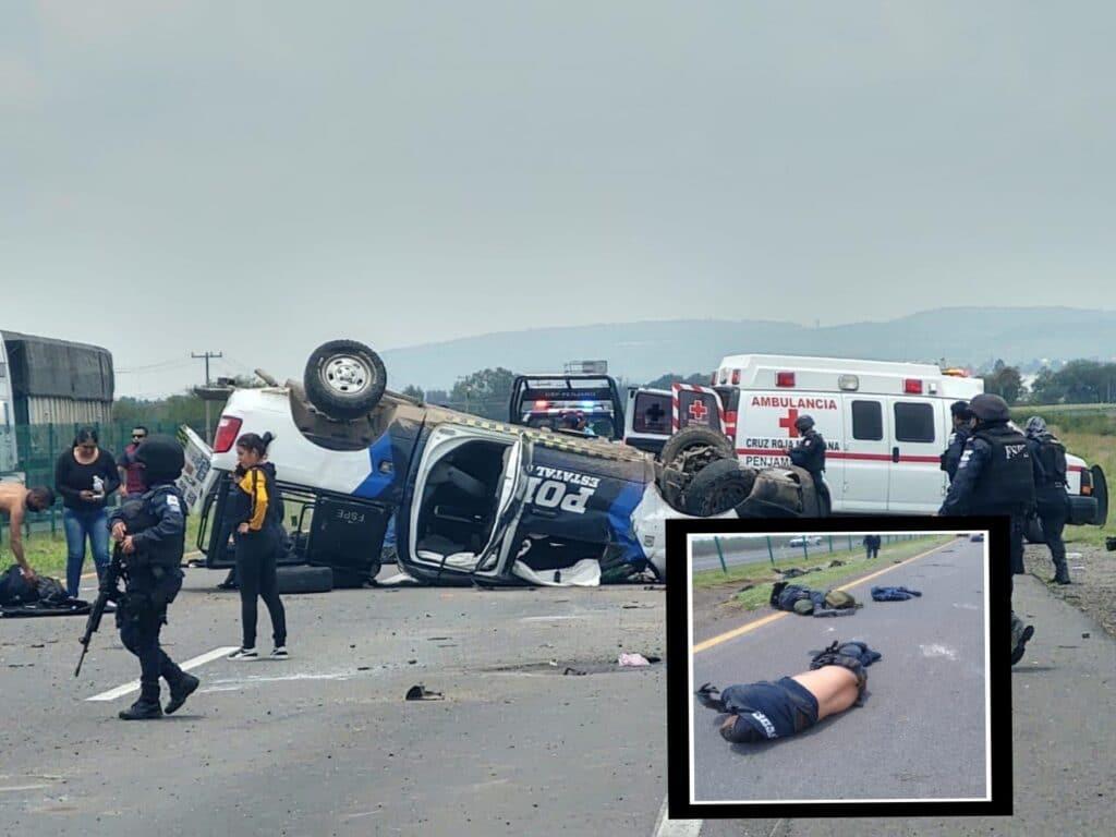 Mueren cuatro policías de las FSPE en volcadura en la Pénjamo-Abasolo 2