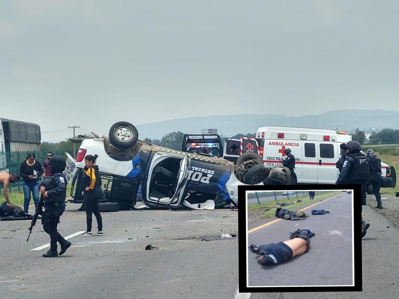Mueren cuatro policías de las FSPE en volcadura en la Pénjamo-Abasolo 4