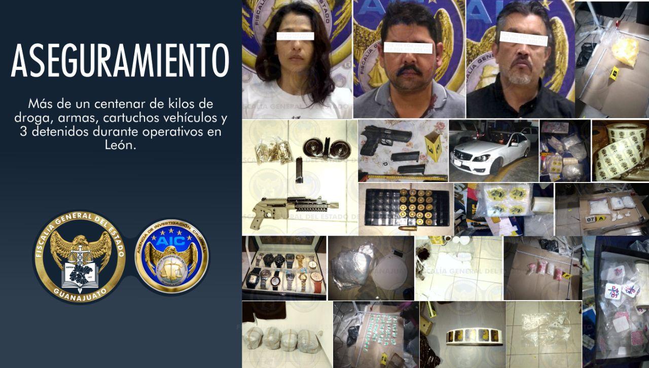 En León, aseguran más de 100 kilos de droga, armas de fuego, vehículos y detienen a 3 personas. 4