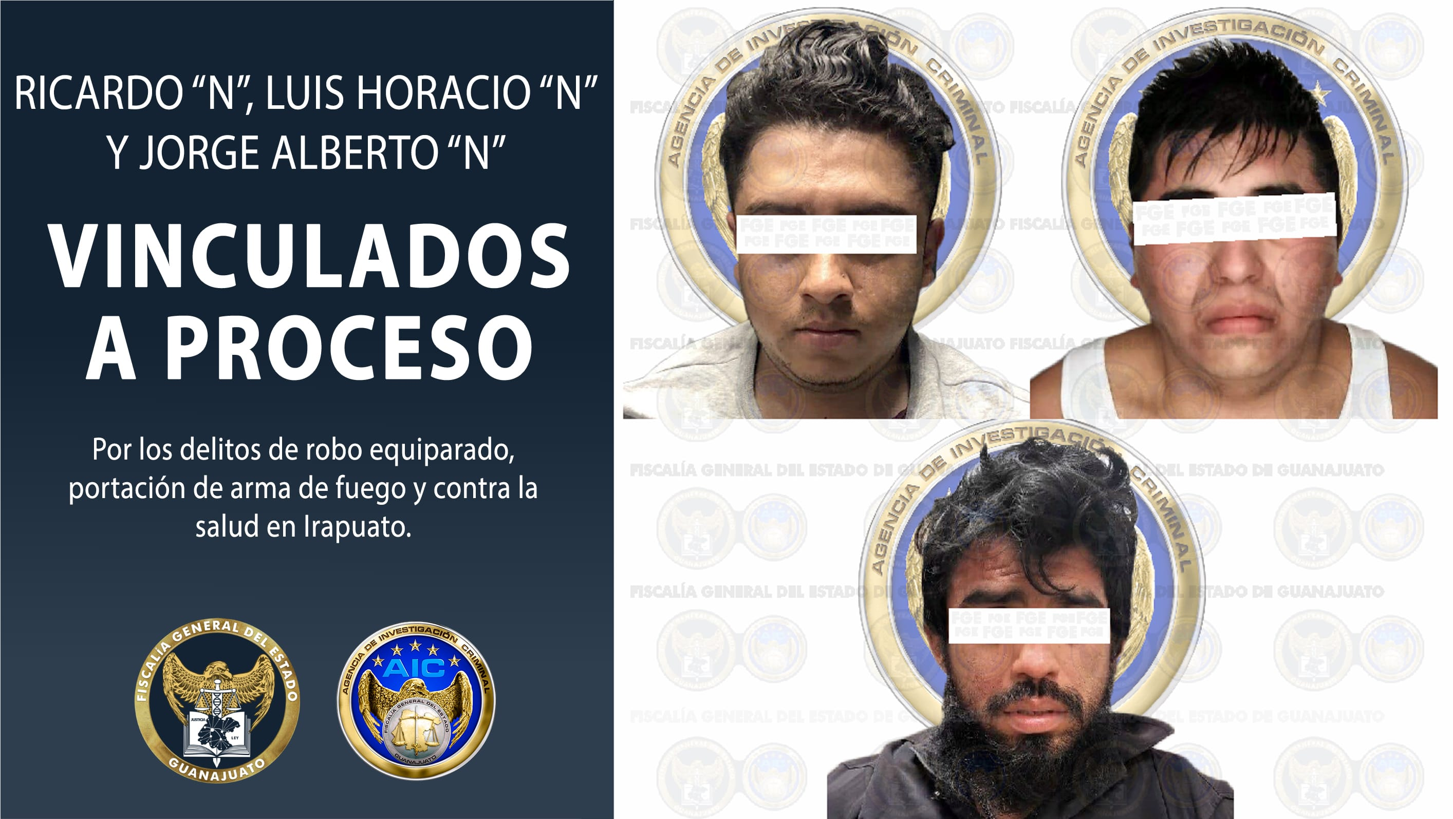 Por robo vehícular, posesión de droga y un arma de fuego, vinculan a proceso a tres hombres. 2