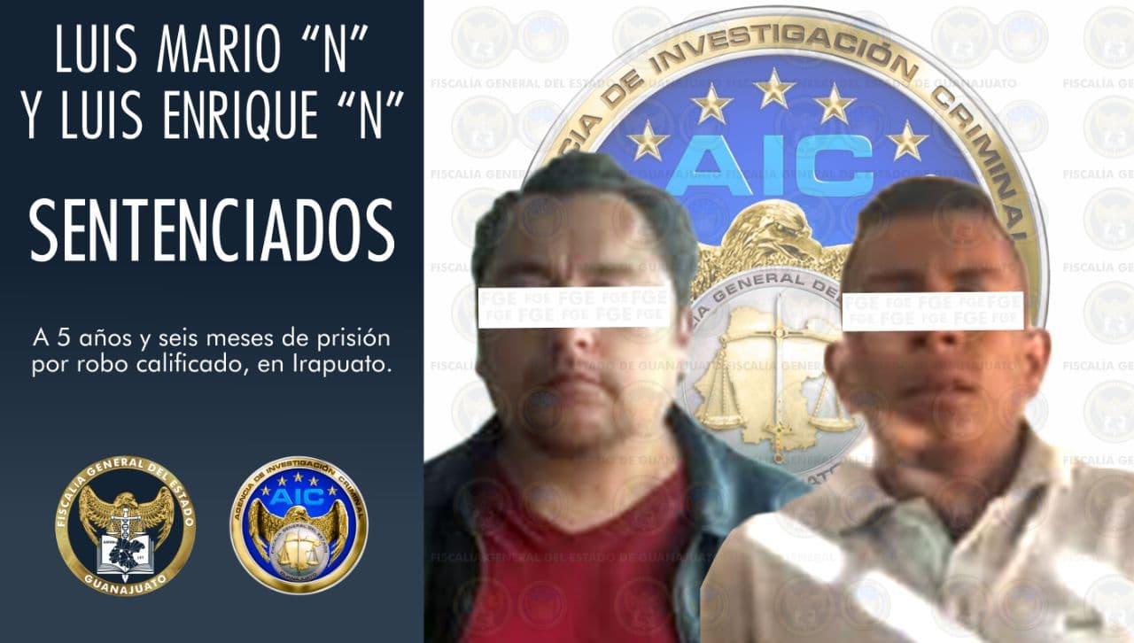 Sentencia de 5 años y seis meses en contra de dos acusados por robo calificado. 1