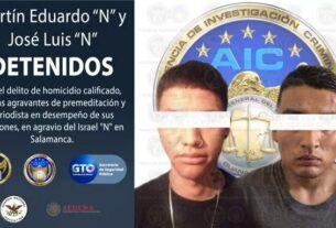 """Anuncia la FGE detención de dos presuntos homicidas del periodista Israel Vázquez de """"El Salmantino"""" 2"""