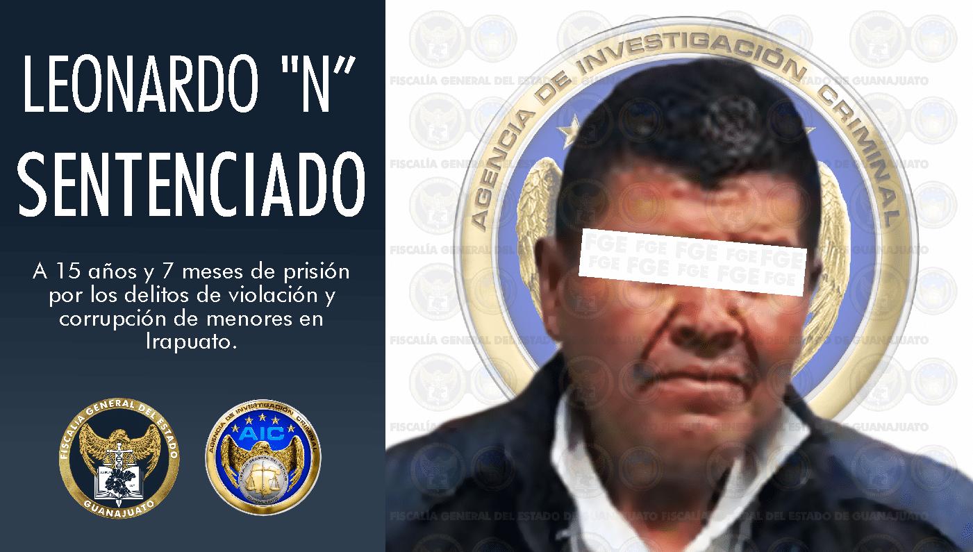 Sentencia de 15 años y 7 meses de prisión para culpable de violación y corrupción de menores en Irapuato. 1