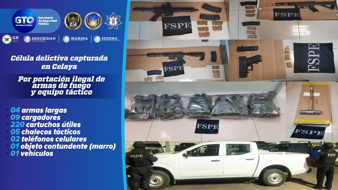 Detienen a cinco integrantes de grupo delictivo, armas, cartuchos y equipo táctico. 1