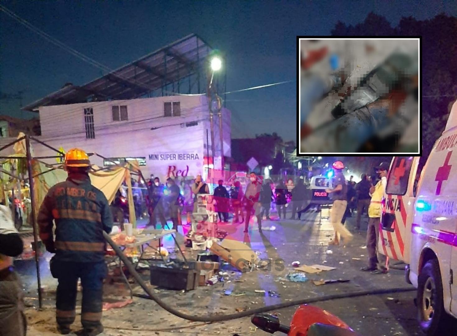 Cuatro lesionados tras explosión de puesto de pirotecnia en tianguis de Celaya 1