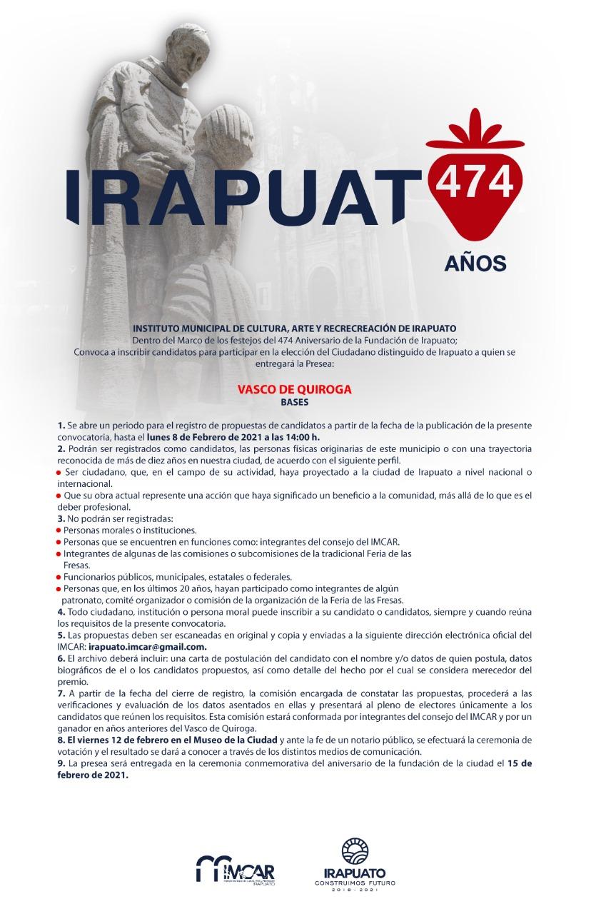 LANZAN CONVOCATORIA PARA PRESEA VASCO DE QUIROGA 1