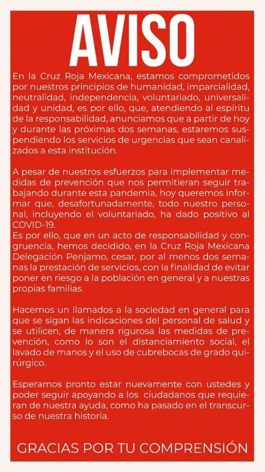 Cruz Roja Pénjamo suspende servicios, todo su personal da positivo a Covid-19 2