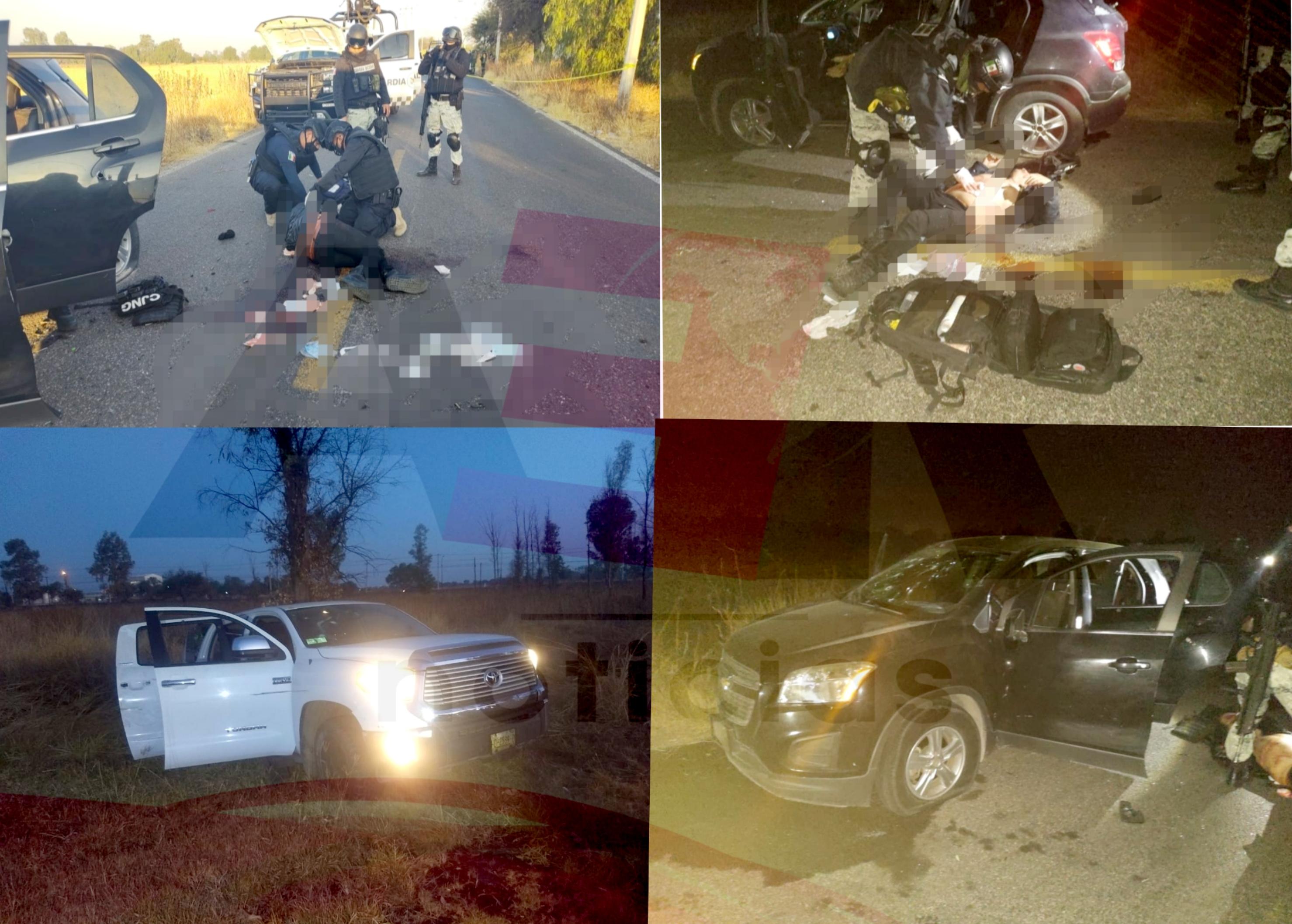 Un policía estatal y ocho civiles muertos en enfrentamiento registrado entre Villagrán y Juventino Rosas, informó Diego Sinhue. 1