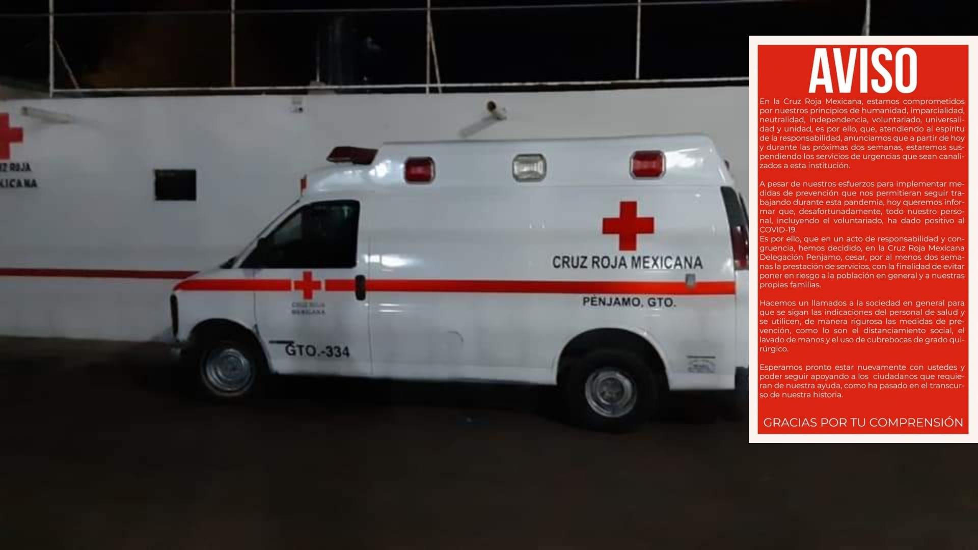 Cruz Roja Pénjamo suspende servicios, todo su personal da positivo a Covid-19 1