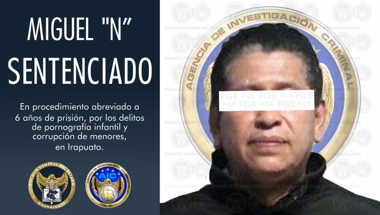 Sentencia condenatoria de 6 años de prisión, para culpable de los delitos pornografía infantil y corrupción de menores en Irapuato. 1