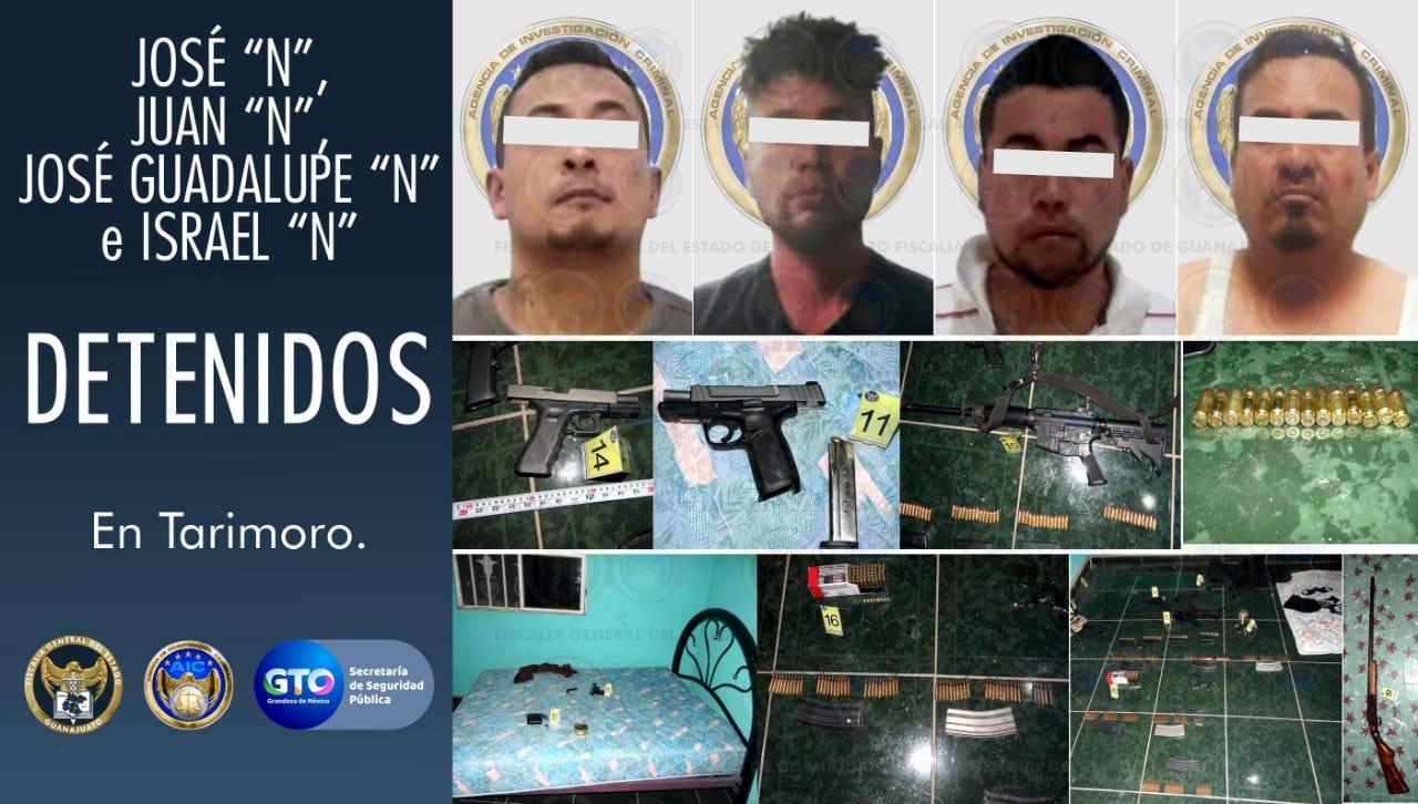 Ubican casa de seguridad en Tarimoro, liberan a víctima secuestrada y detienen a cuatro hombres 1