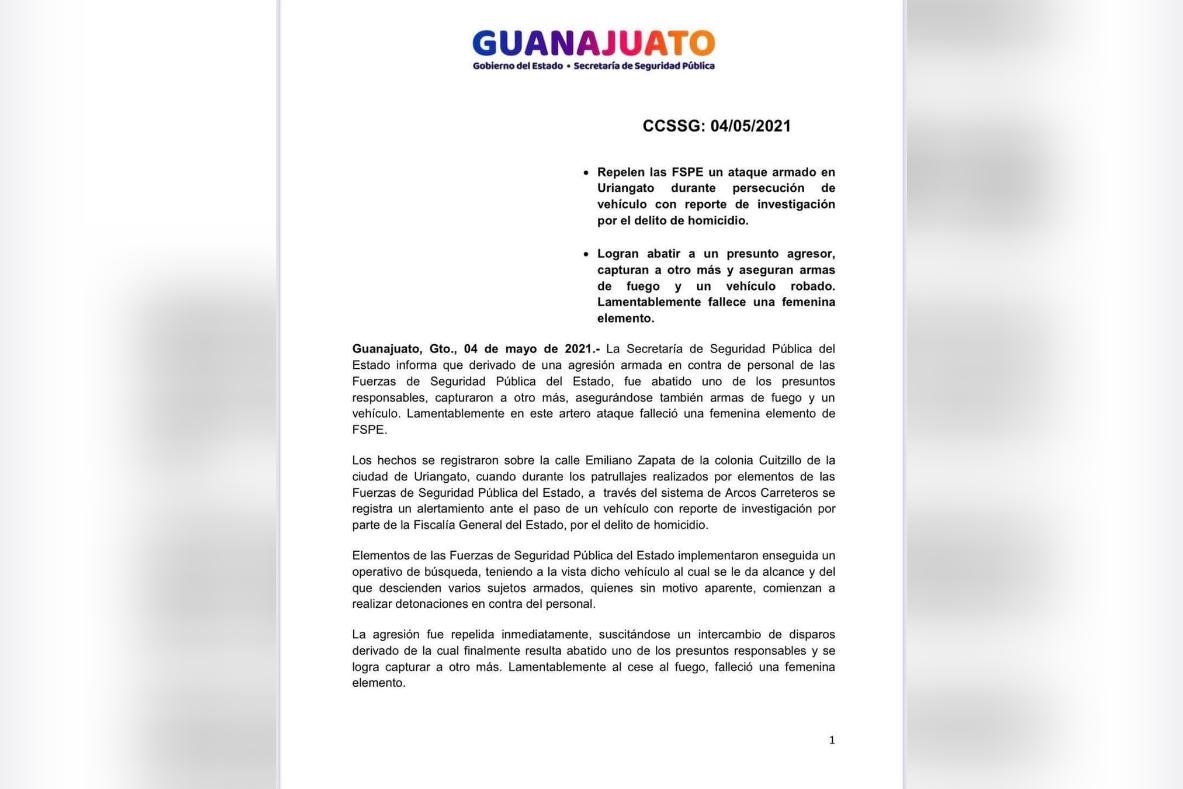 Enfrentamiento en Uriangato entre FSPE y civiles armados, deja una elemento muerta y un civil abatido 1