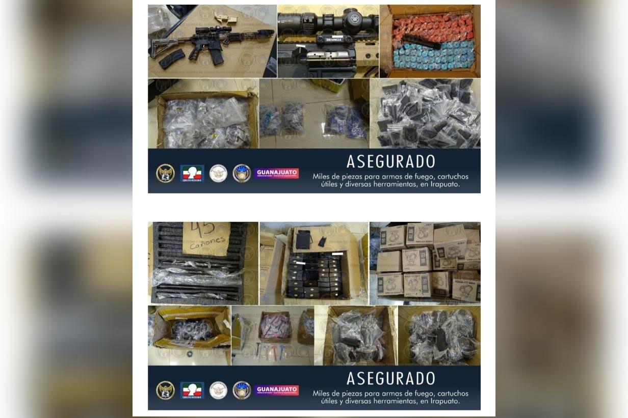 En la col. Ganadera aseguran un gran arsenal, miles de piezas para ensamblar armas de fuego, cartuchos útiles y herramientas. 1