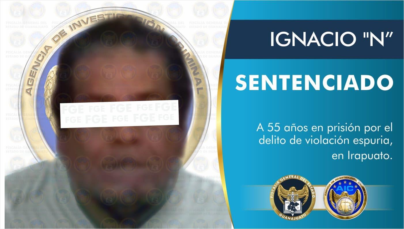 """IGNACIO """"N"""" pasará 55 años en prisión, culpable del delito de violación espuria en Irapuato 1"""