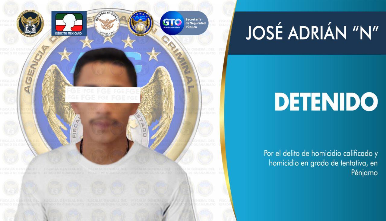 """Detienen en Pénjamo a JOSÉ ADRIÁN """"N"""", objetivo criminal generador de violencia en el estado 1"""