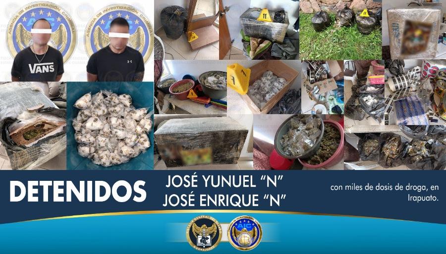 Catean inmueble en Villas de Irapuato, aseguran miles de dosis de droga y detienen a dos hombres 1