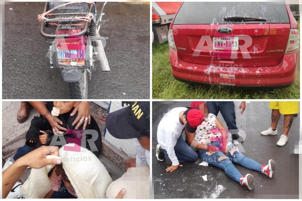 Dos niños y dos adultos lesionados en accidente de motocicleta 1