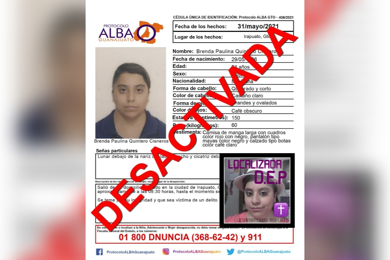 Desactivan Protocolo ALBA de joven irapuatense desaparecida el pasado mes de mayo 1