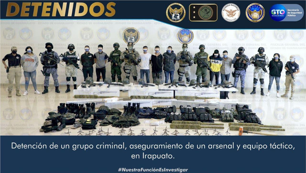En Irapuato aseguran un arsenal, equipo táctico y detienen a 13 integrantes de un grupo delincuencial 1