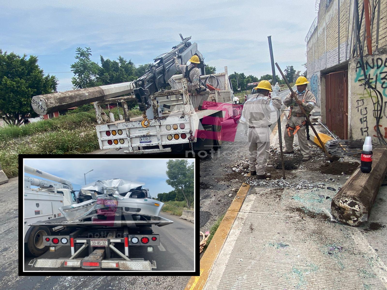 Automovilista se impacta contra poste de CFE y cae transformador sobre el toldo 1