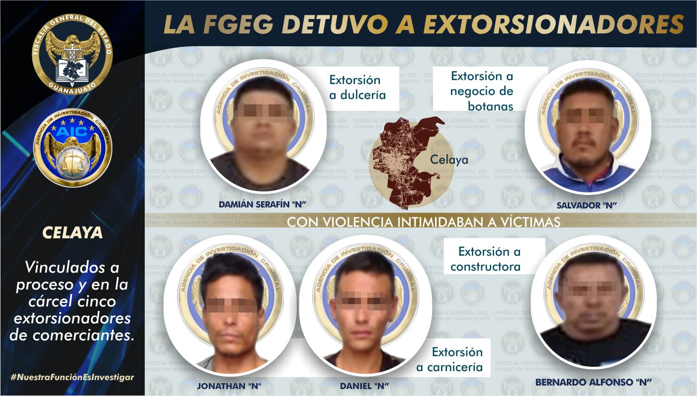 Captura la FGEG a cinco sujetos que extorsionaban a comerciantes en Celaya. 1