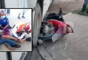 Urbano arrolla a motociclistas en San Cayetano de Luna 2